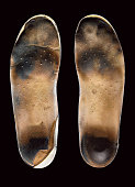 Worn insoles from shoes