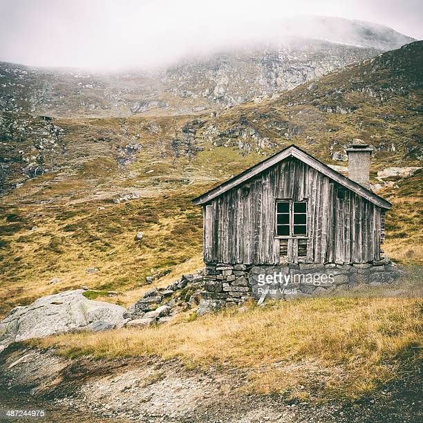 Worn old Norwegian wooden cabin