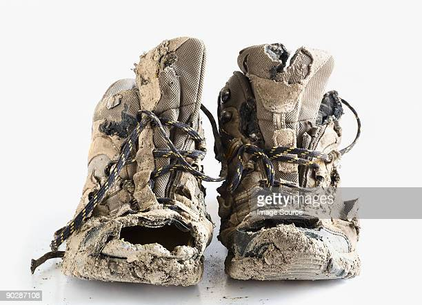 Worn out hiking boots