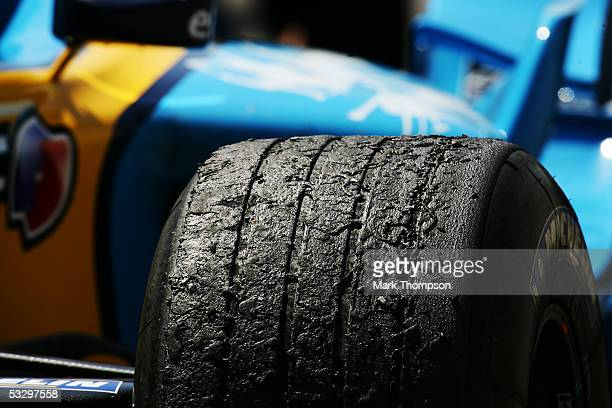 Worn tyres on the Renault after the British F1 Grand Prix at Silverstone Circuit on July 10 2005 in Silverstone England