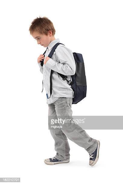 Worried Boy Walking