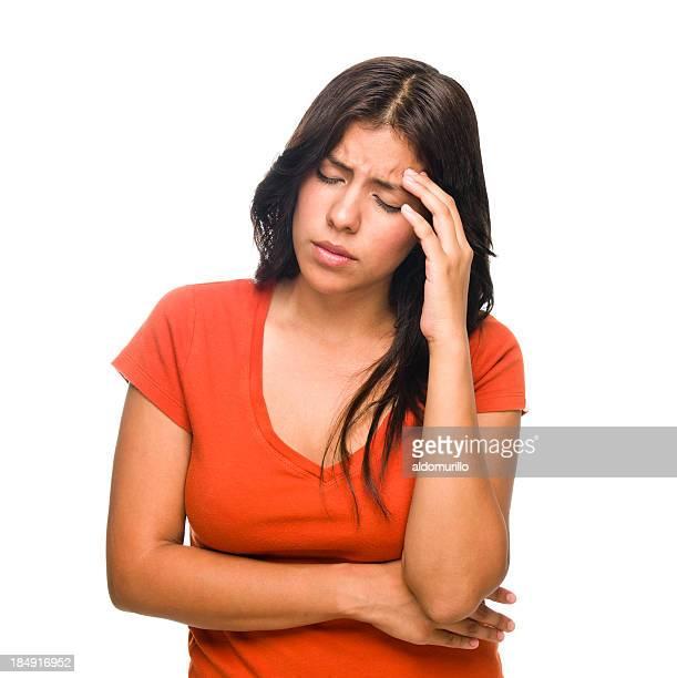 Worried latin woman