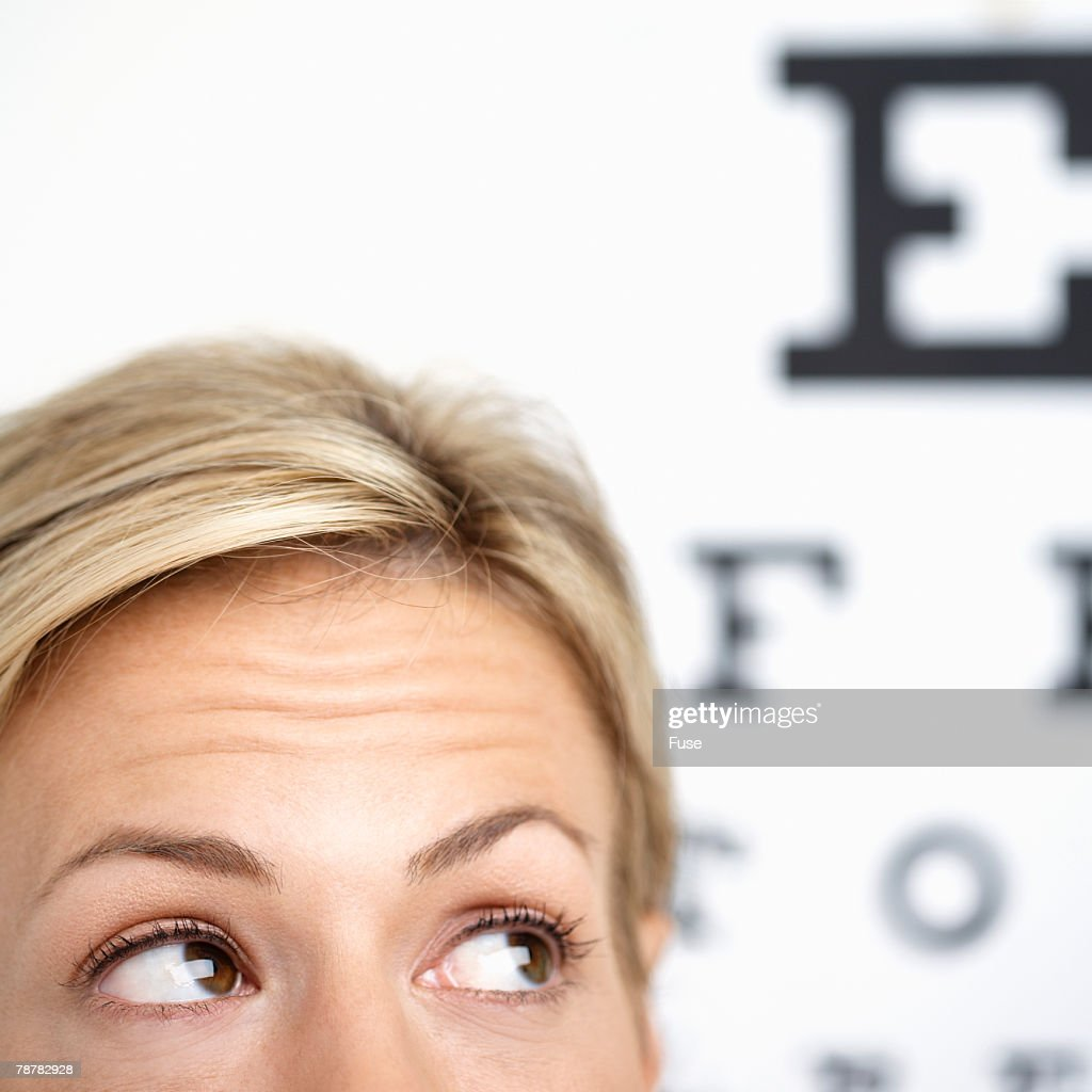 Worried Woman Having Vision Test