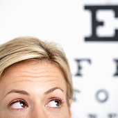 Worried Woman Having Vision Test