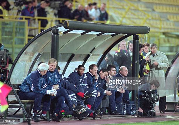 A worriedlooking England bench during the World Cup qualifier match between San Marino and England 17th November 1993 England won 17