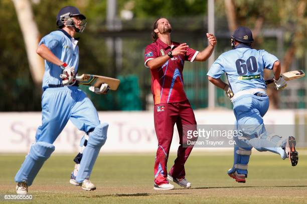 Worrin Williams reacts during the National Indigenous Cricket Championships match between News South Wales and Queensland on February 6 2017 in Alice...
