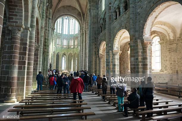 Worship at abbey church on Mont Saint-Michel, France