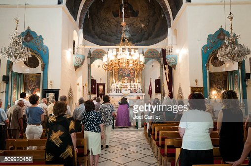 Worship inside Armenian church in Damascus, Syria