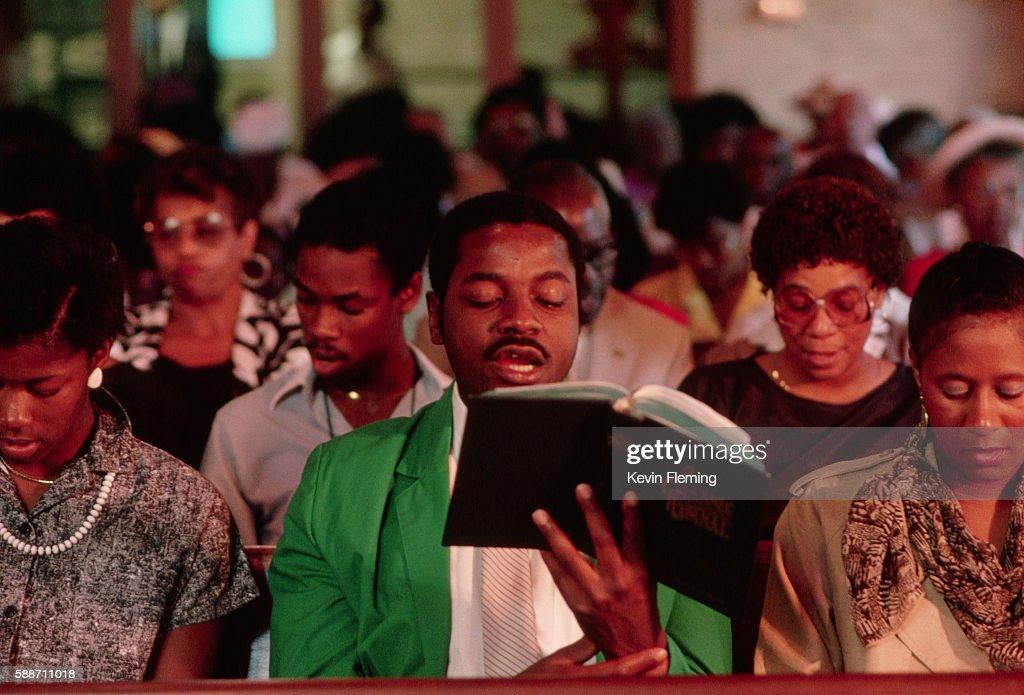 Worshiper Singing During Religious Service