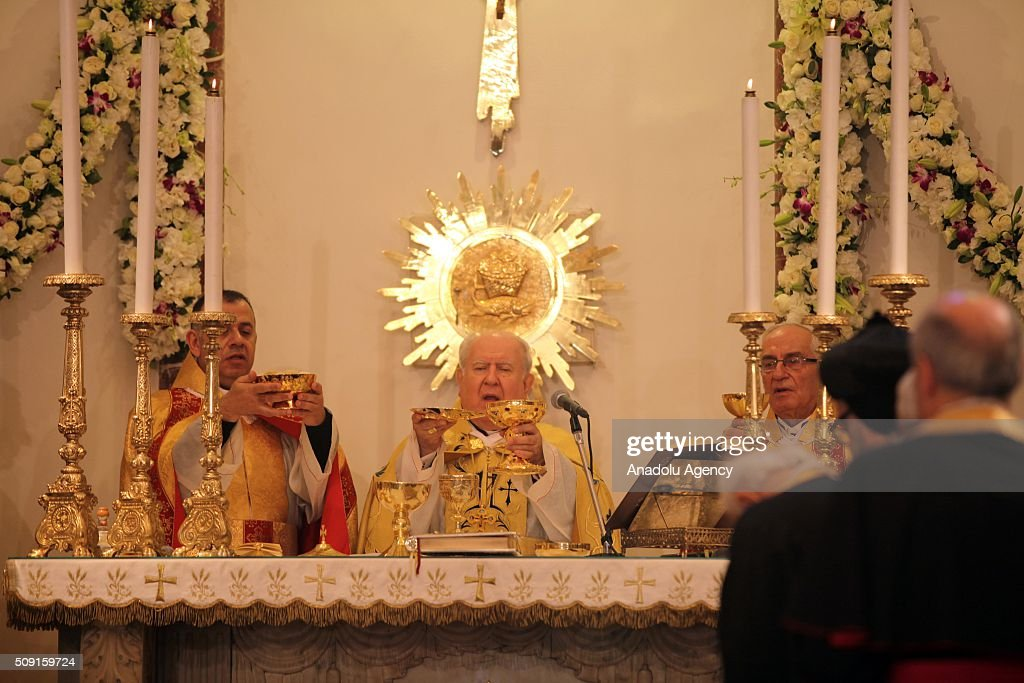 Worshipers attend a service for Saint Maroun Day at the Maronite Church in Beirut, Lebanon on February 9, 2016.