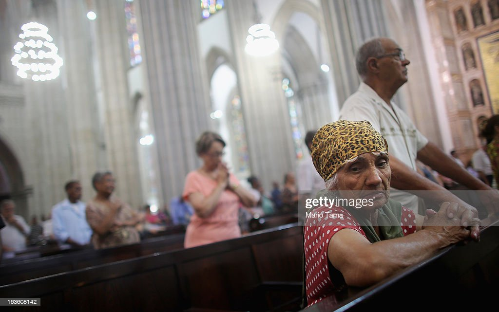 Worshipers attend Mass at the Se Cathedral, the cathedral of the Roman Catholic Archbishop of Sao Paulo, Cardinal Odilo Pedro Scherer, on March 13, 2013 in Sao Paulo, Brazil. Brazil has more Catholics than any other country in the world and supporters hope Sao Paulo Archbishop Cardinal Odilo Pedro Scherer will be chosen as the next Pope during the papal conclave.