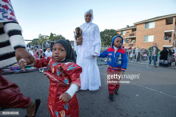 Worshipers flock to the Lakemba Mosque in suburban Sydney Australia Crowds spill into the street and neighbouring houses and gardens for the...