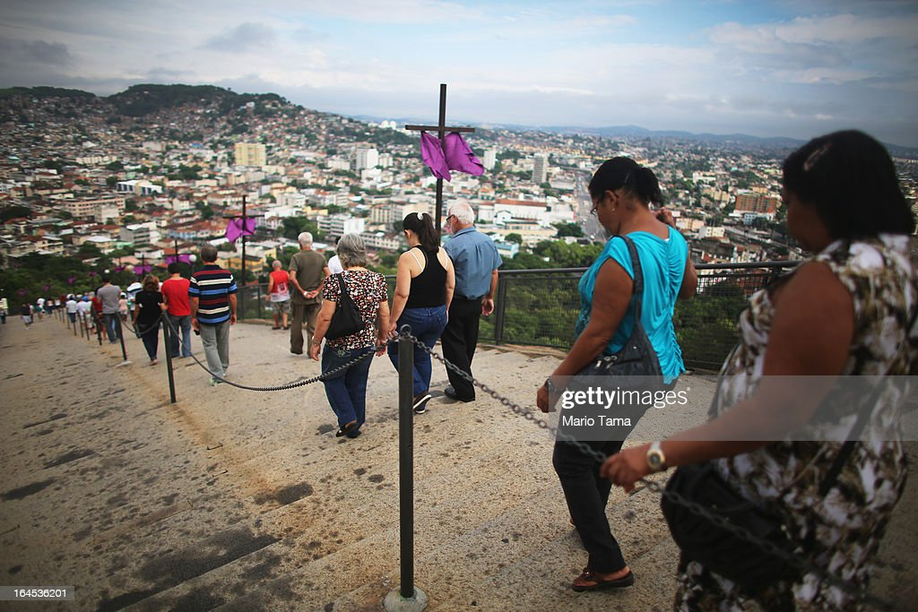 Worshipers make their way down the 382 steps that lead to the Igreja de Nossa Senhora da Penha Church after attending Palm Sunday Mass on March 24, 2013 in Rio de Janeiro, Brazil. South Americans are celebrating the election of Pope Francis from neighboring Argentina and Brazil holds more Catholics than any other country.