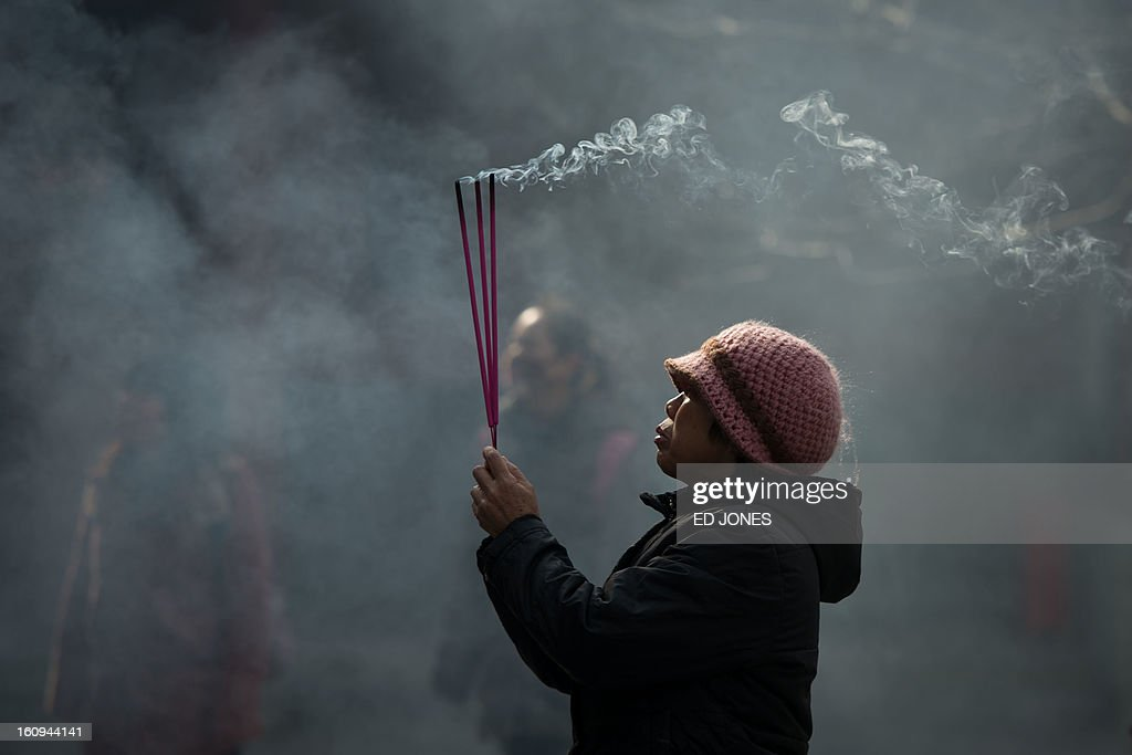 A worshipper burns incense while offering prayers at the Yonghegong lama temple in Beijing on February 8, 2013. China is preparing to welcome the lunar new year, or spring festival, which falls on Febraury 10. AFP PHOTO / Ed Jones