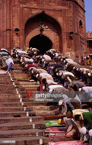 Worshippers at Friday prayers on the steps of the Jamid Masjid Mosque in Old Delhi