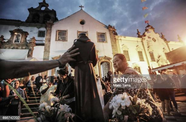 Worshippers gather at the annual feast of Saint Anthony of Padua at the Santo Antonio convent on June 13 2017 in Rio de Janeiro Brazil Around 80000...