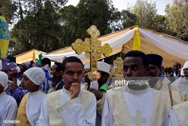 Worshippers gather inside the Holy Trinity Cathedral in Addis Ababa on March 3 2013 for the swearing in ceremony of the newlyelected Patriarch of...