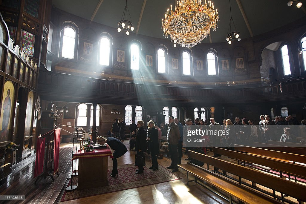 Worshippers pray after attending a mass in The Ukrainian Cathedral of the Holy Family in Exile, part of the Ukrainian Greek Catholic Church, led by Father Mykola Matwijiwskij in Mayfair on March 09, 2014 in London, England. The Russian military and allied militias have assumed control of Crimea, an autonomous region within Ukraine, ahead of a referendum to determine the province's nationality, which was called by the Crimean Parliament and which the government in Kiev regards as illegal.
