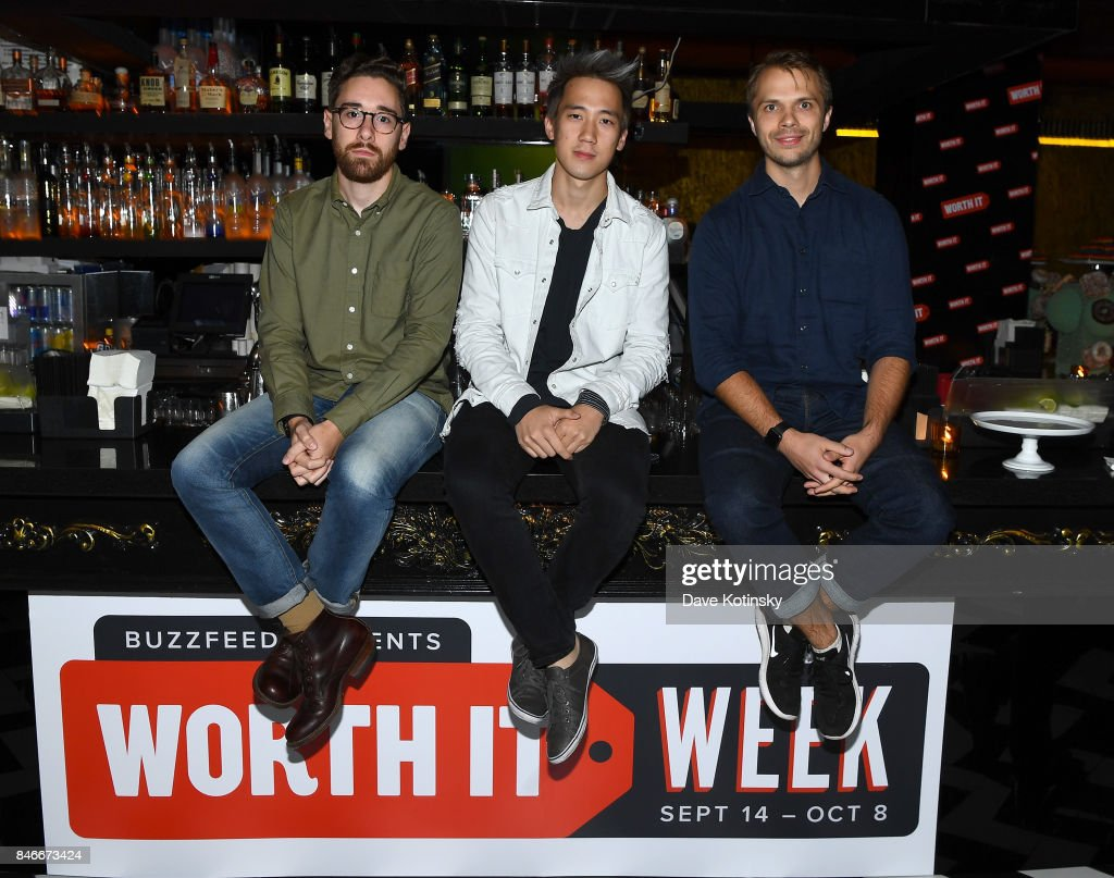 'Worth It' cast members Adam Bianchi, Steven Lim , and Andrew Ilnyckyj attend the 'Worth It' party presented by Buzzfeed at 1 Oak on September 13, 2017 in New York City.