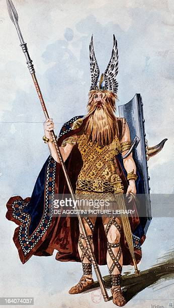 Wotan sketch of the costume created by Charles Bianchini for a performance of The Valkyrie from The Ring of the Nibelung cycle by Richard Wagner at...