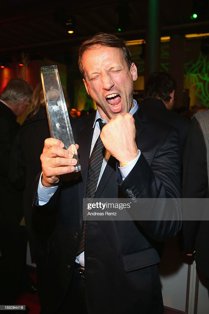 Wotan Wilke Moehring poses with his award during the German TV Award party 2012 (Deutscher Fernsehpreis 2012) at Coloneum on October 2, 2012 in Cologne, Germany.