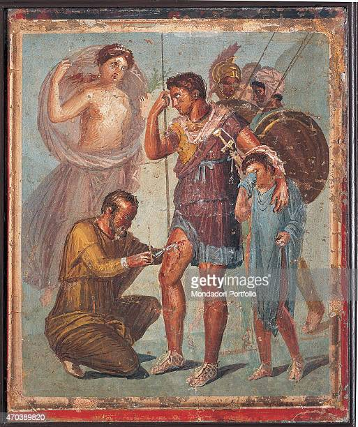'Wounded Aenea by unknown artist 4579 1st Century AD ripped fresco 45 x 48 cm Italy Campania Naples National Archaeological Museum Room LXXIII inv...