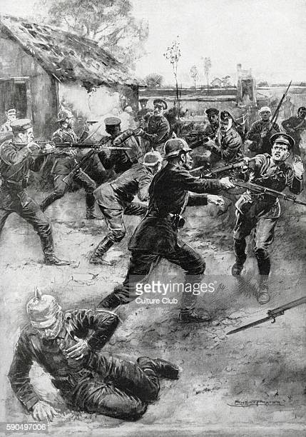 Wounded British soldiers of the Yorkshire Light Infantry charge at German soldiers
