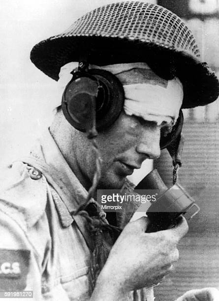 A wounded Canadian signalman speaking through a microphone in Reggio Calabria after the Allied invasion and liberation of Southern Italy September...