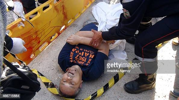 A wounded museum attack victim is seen after an operation at the Bardo Museum in Tunis Tunisia on March 18 2015 Gunmen opened fire at the Bardo...