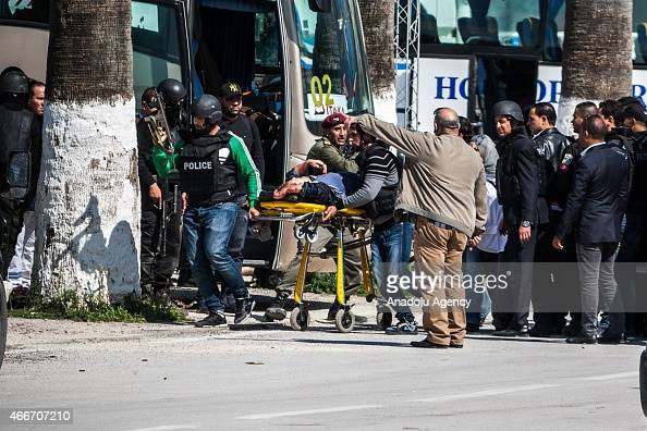 Wounded museum attack victims are taken to nearby hospitals for treatment in Tunis Tunisia on March 18 2015 Gunmen opened fire at the Bardo Museum in...