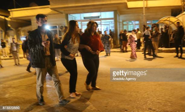 Wounded people arrive to receive treatment at Sulaymaniyah Hospital after a 72 magnitude earthquake hit northern Iraq in Sulaymaniyah Iraq on...