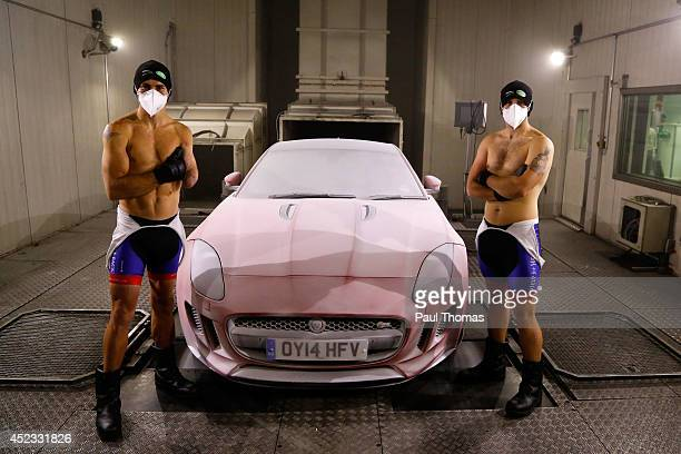 GAYDON ENGLAND JULY 18 Wounded servicemen Jaco van Gass and Luke Darlington undergo a minus 40 degrees Celsius cryotherapy recovery session following...