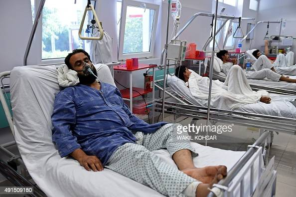 A wounded staff member of Doctors Without Borders survivor of the US airstrikes on the MSF Hospital in Kunduz receives treatment at the Italian aid...