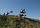 Wounded Warriors descend a hill as former President George W Bush hosts bicycle riders through his Prairie Chapel Ranch outside Crawford Texas in the...
