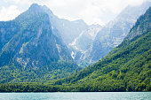 Stunning deep green waters of Konigssee, known as Germany's deepest and cleanest lake.