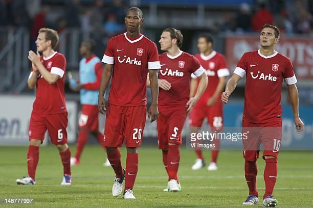 Wout Brama of FC Twente Glynor Plet of FC Twente Robbert Schilder of FC Twente Dusan Tadic of FC Twente during the Europa League Playoff match...
