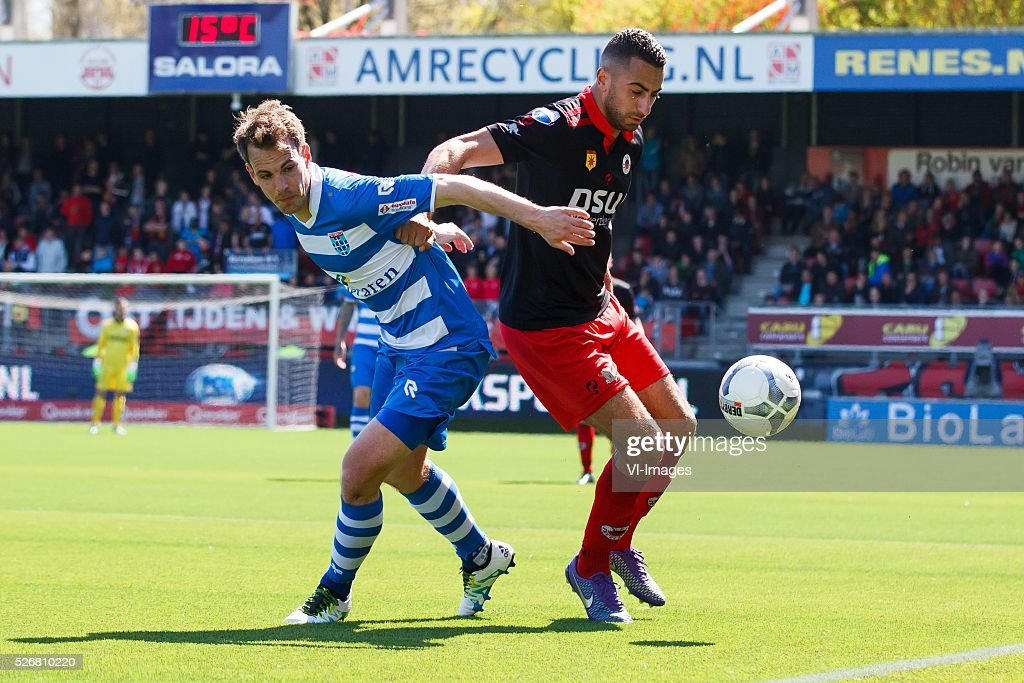 Wout Brama of PEC Zwolle, Adil Auassar of Excelsior during the Dutch Eredivisie match between Excelsior Rotterdam and PEC Zwolle at Woudenstein stadium on May 01, 2016 in Rotterdam, The Netherlands