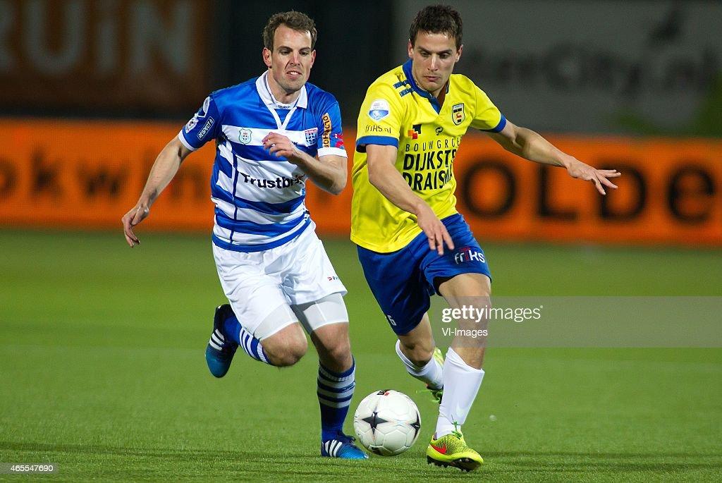 Wout Brama of Pec Zwolle Erik Bakker of Sc Cambuur during the Dutch Eredivisie match between PEC Zwolle and SC Cambuur Leeuwarden at the IJsseldelta...