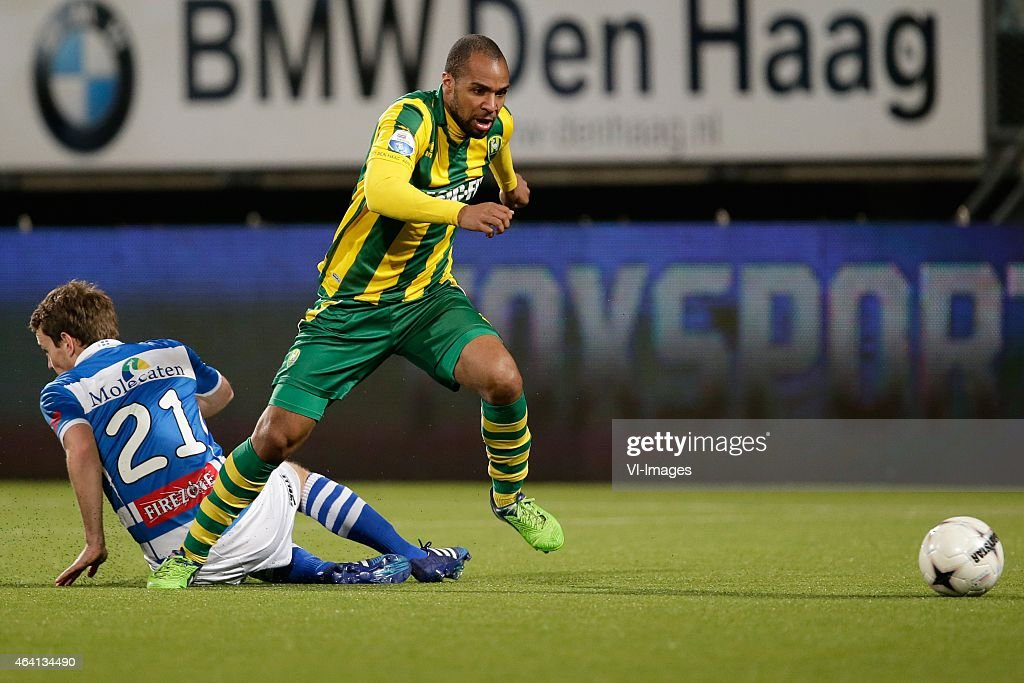 <a gi-track='captionPersonalityLinkClicked' href=/galleries/search?phrase=Wout+Brama&family=editorial&specificpeople=2442566 ng-click='$event.stopPropagation()'>Wout Brama</a> of PEC Zwolle, <a gi-track='captionPersonalityLinkClicked' href=/galleries/search?phrase=Wilson+Eduardo&family=editorial&specificpeople=7150735 ng-click='$event.stopPropagation()'>Wilson Eduardo</a> of ADO Den Haag during the Dutch Eredivisie match between ADO Den Haag and PEC Zwolle at Kyocera stadium on February 21, 2015 in The Hague, The Netherlands