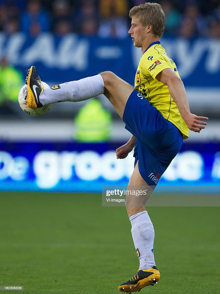 Wout Droste of sc Cambuur during the Dutch Eredivisie match between sc Heerenveen and SC Cambuur Leeuwarden on September 29, 2013 at the Abe Lenstra stadium in Heerenveen, The Netherlands.