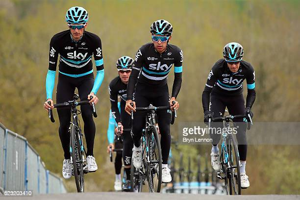 Wout Poels of The Netherlands and Sebastian Henao Gomez of Colombia lead Team SKY on the climb of La Redoute during training for the 2016...