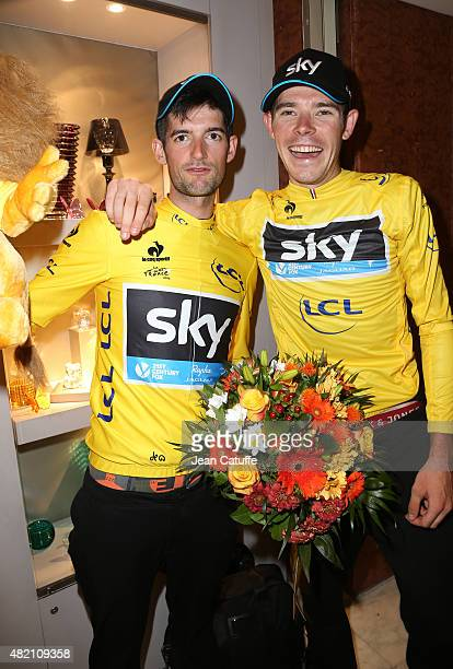 Wout Poels of the Netherlands and Team Sky and Luke Rowe of Great Britain and Team Sky wear the yellow jersey of their leader Chris Froome following...
