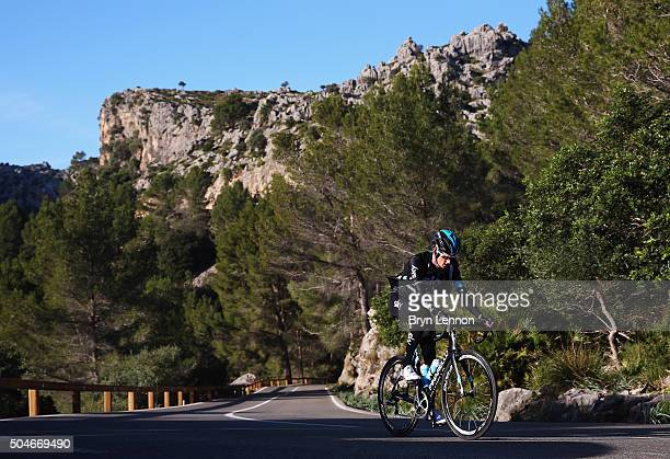 Wout Poels of The Netherlands in action during a media day at a Team Sky Training Camp on January 12 2016 in Mallorca Spain