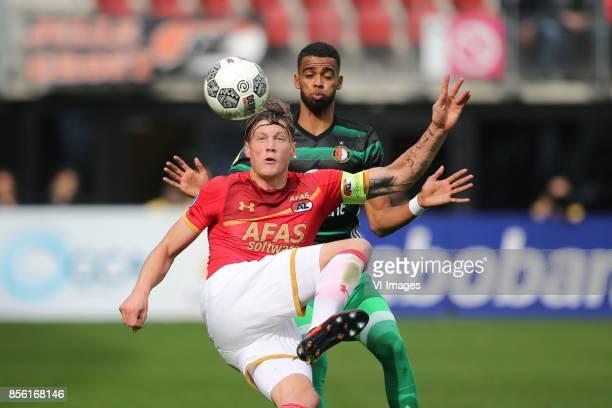 Wout Weghorst of AZ Jeremiah St Juste of Feyenoord during the Dutch Eredivisie match between AZ Alkmaar and Feyenoord Rotterdam at AFAS stadium on...