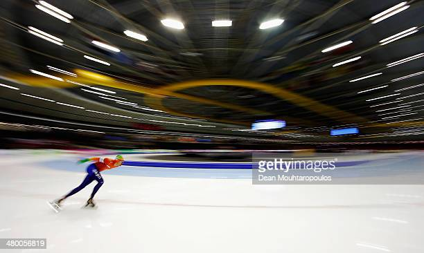 Wouter Olde Heuvel of Netherlands competes in the 500m Mens during day one of the Essent ISU World Allround Speed Skating Championships at the Thialf...