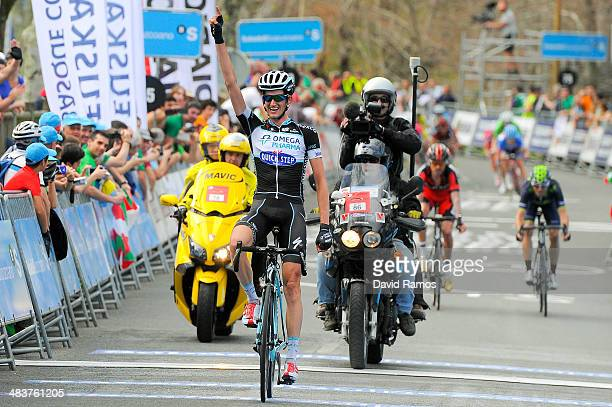 Wouter Poels of Netherlands and Team Omega Pharma QuickStep celebrates winning Stage Four of Vuelta al Pais Vasco from VitoriaGasteiz to Eibar on...