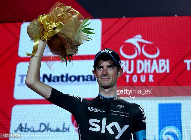 Wouter Poels of the Netherlands and Team Sky celebrates third place on the podium after the final stage of the 2015 Abu Dhabi Tour on October 11 2015...