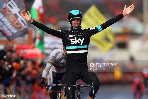 Wouter Poels of The Netherlands and Team SKY celebrates winning the 102nd LiegeBastogneLiege a 253 km road race on April 24 2016 in Liege Belgium