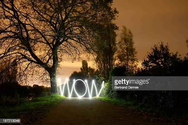 'Wow' written in light in a dark rural setting
