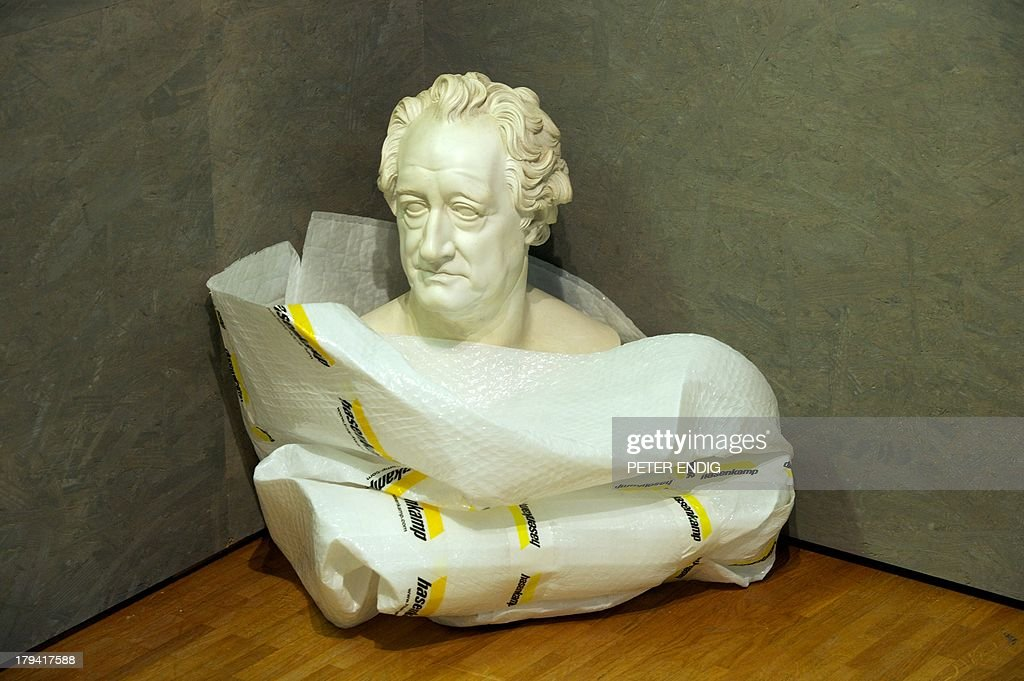 A wrapped bust of German writer Johann Wolfgang von Goethe stands at the Stadtgeschichtliches Museum Leipzig museum of the history of Leipzig on September 3, 2013 in Leipzig, eastern Germany, as preparations are under way for the exhibition 'Heroes made to measure - 200th Anniversary of the Battle of the Nations'. This exhibition, running from September 4, 2013 to January 5, 2014, is dedicated to the German 'founding myth' which is essentially based on the events that took place around the year 1813. The exhibition focuses on the myth of the 'Wars of Liberation' and the history of its perception over a period of 200 years.